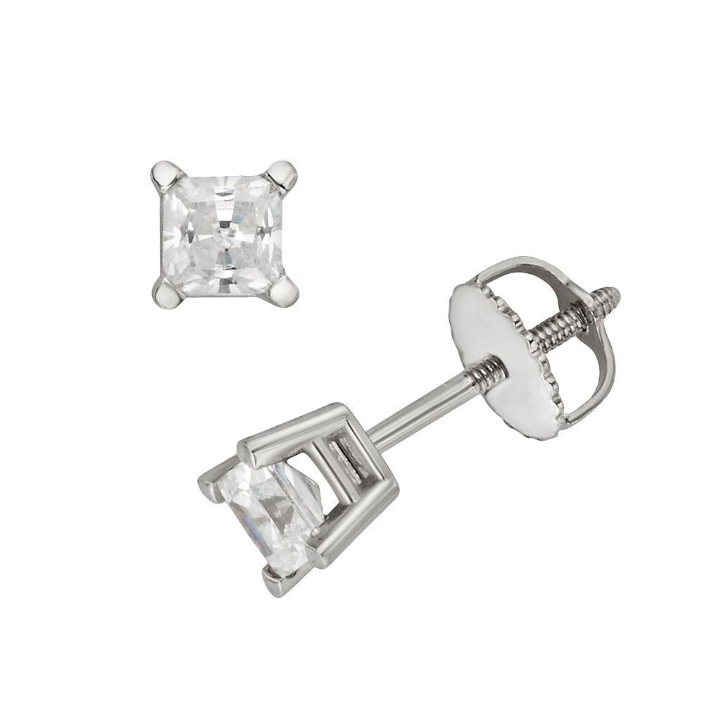 18k White Gold 1/2-ct. T.W. Ideal-Cut IGL Certified Diamond Stud Earrings