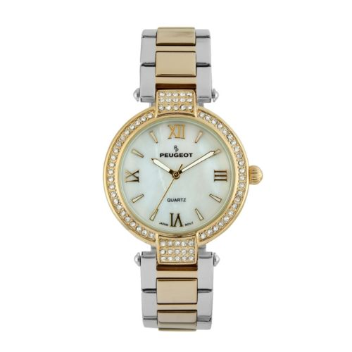 Peugeot Two Tone Crystal and Mother-of-Pearl Watch - 7084TTG - Women