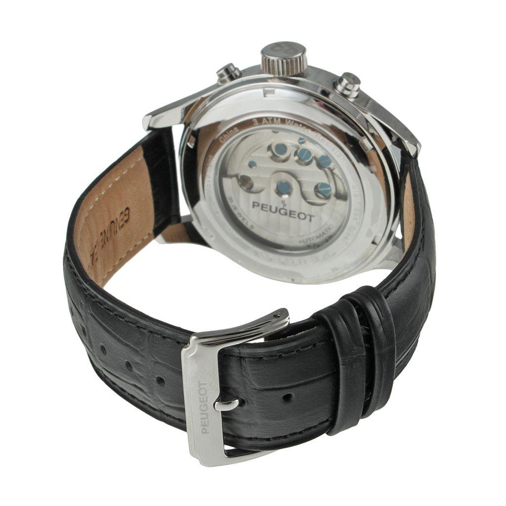 Peugeot Men's Automatic Leather Skeleton Watch - MK910SBK