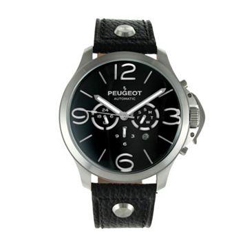 Peugeot Men's Automatic Leather Skeleton Watch - MK912SBK