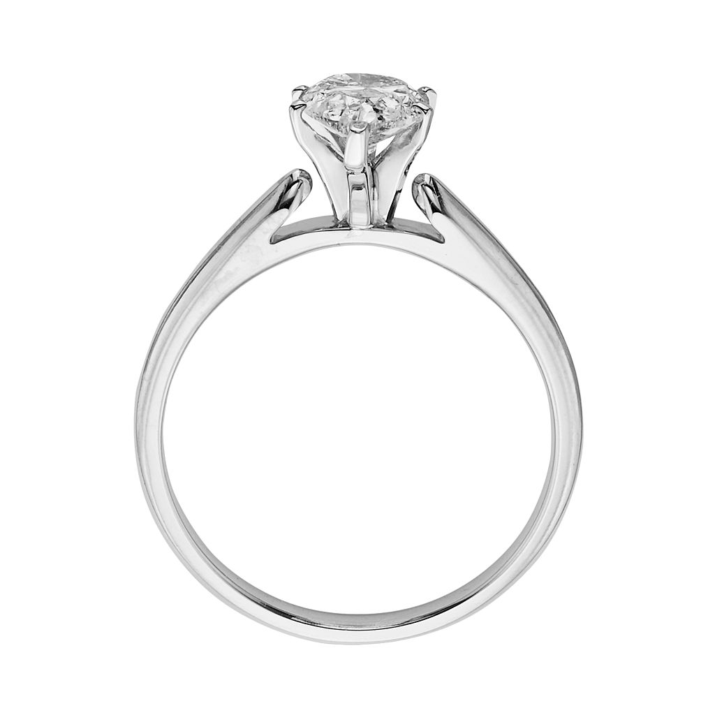 14k White Gold 3/4-ct. T.W. Pear-Cut IGL Certified Diamond Solitaire Ring