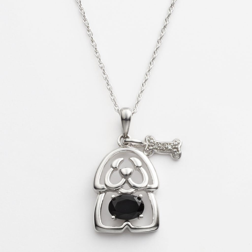 Sterling Silver Diamond Accent & Black Onyx Openwork Puppy Pendant