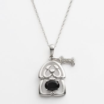 Sterling Silver Diamond Accent and Black Onyx Openwork Puppy Pendant