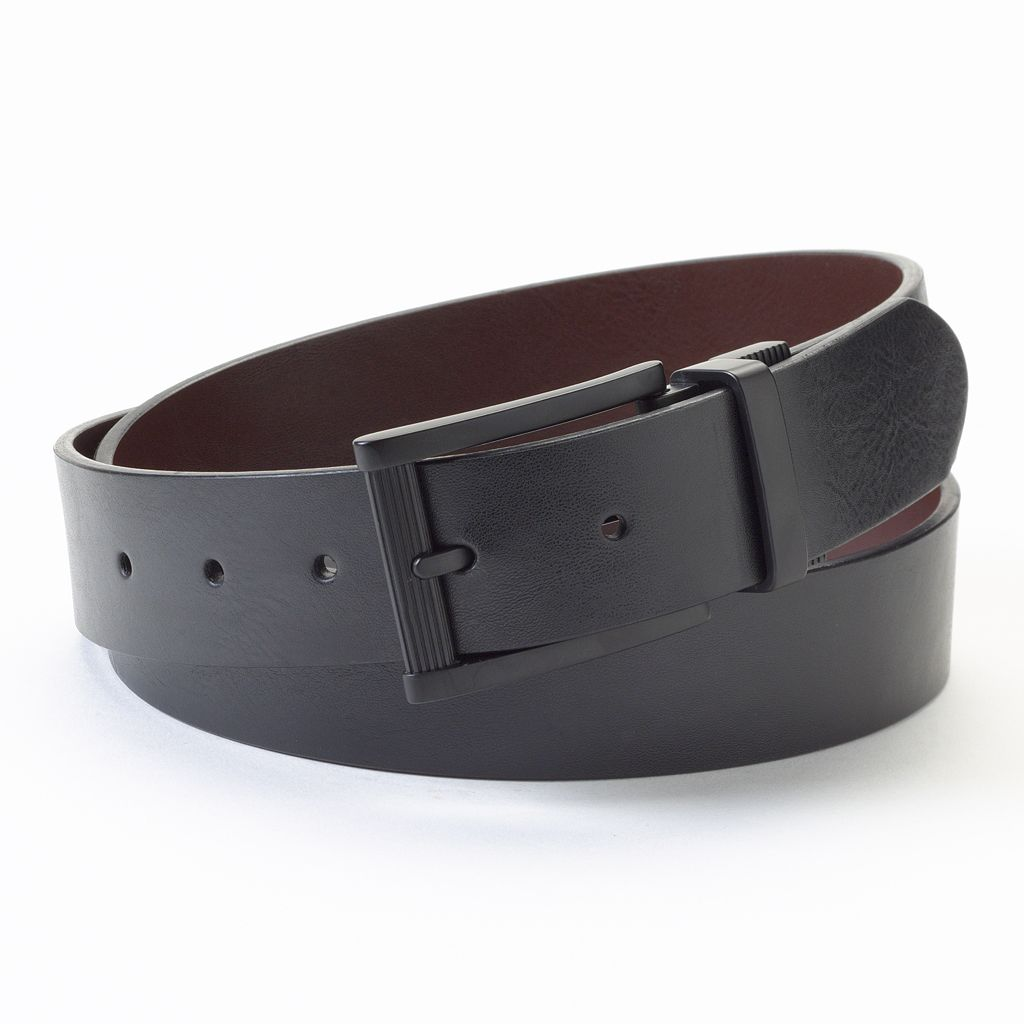 Apt. 9® Rounded-Edge Reversible Faux-Leather Belt