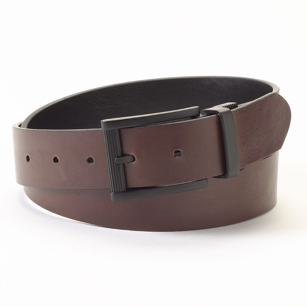 Apt. 9® Rounded-Edge Reversible Faux-Leather Belt