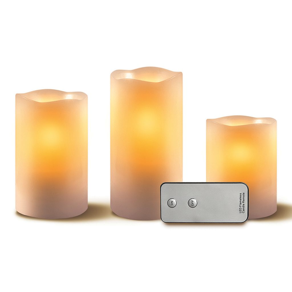3-pc LED Flameless Candles Set With Remote