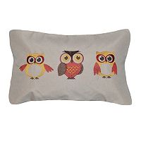 Three Owl Embroidered Decorative Pillow