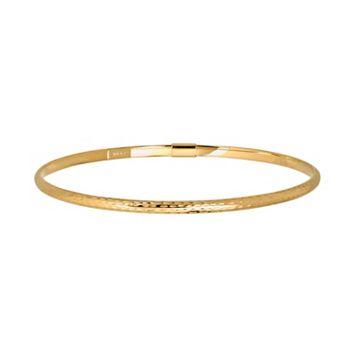 Everlasting Gold 10k Gold Diamond-Cut Bangle Bracelet
