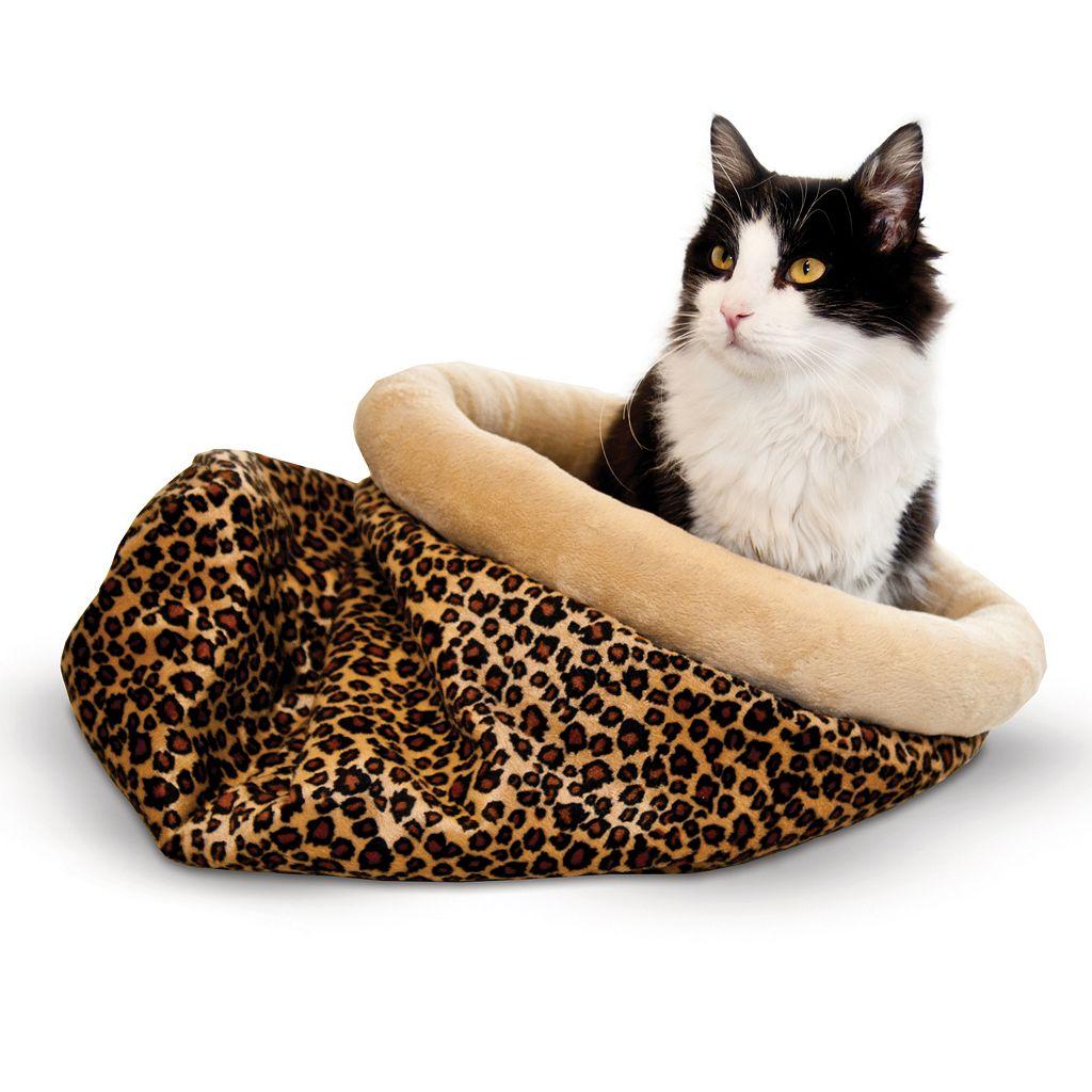 K&H Pet Leopard Self-Warming Kitty Sack