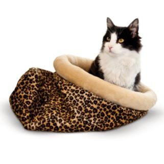 K and H Pet Leopard Self-Warming Kitty Sack