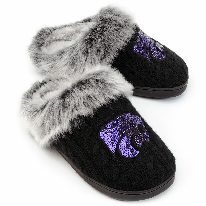 Kansas State Wildcats Sequined Faux-Fur Clog Slippers