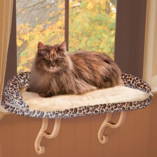 K and H Pet Leopard Deluxe Kitty Window Perch with Bolster