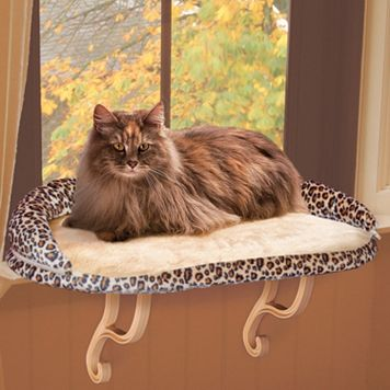 K&H Pet Leopard Deluxe Kitty Window Perch with Bolster