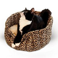 K&H Pet Leopard Lazy Cup Round Pet Bed - 16''