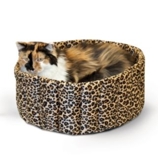 K and H Pet Leopard Lazy Cup Round Pet Bed - 16''
