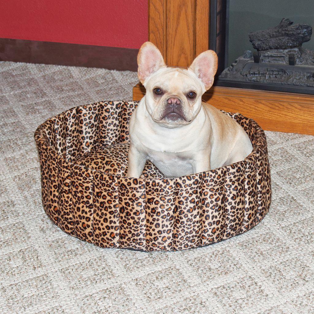 K&H Pet Leopard Lazy Cup Round Pet Bed - 20''