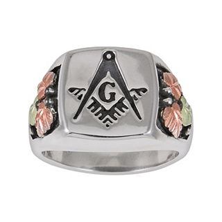 13619f08f32fe Black Hills Gold Tri-Tone Masonic Ring in Sterling Silver - Men