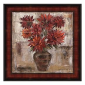 Dahlia's In Bronze Vase Framed Canvas Wall Art by Silvia Vassileva
