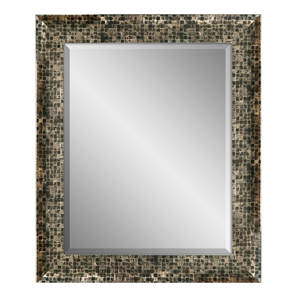 Checkered Framed Beveled Wall Mirror