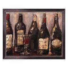 'Wine Bar with French Glass' Framed Canvas Wall Art by Nicole Etienne