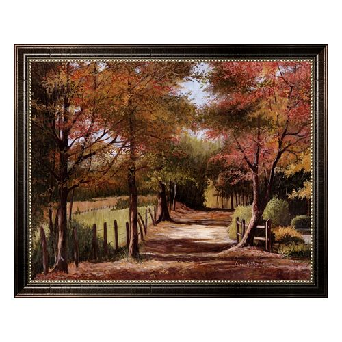 """""""Autumn Country Road"""" Framed Canvas Wall Art by Lene Alston Casey"""