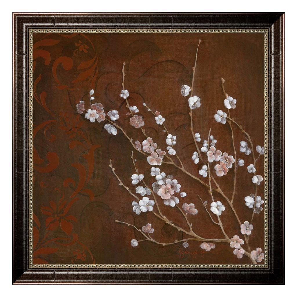 ''Cherry Blossoms on Cinnabar I'' Framed Canvas Wall Art by Janet Tava