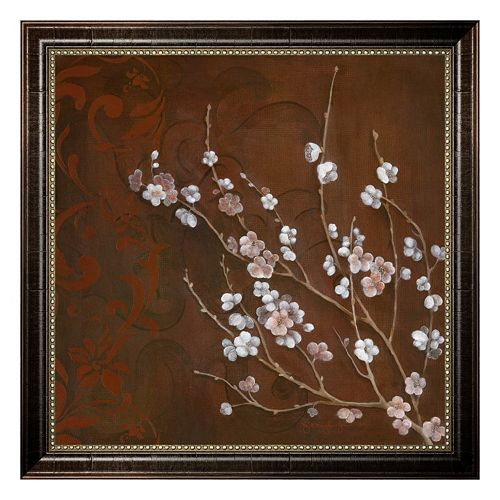 ''Cherry Blossoms on Cinnabar I'' Framed Canvas Wall Art by Janet Tava