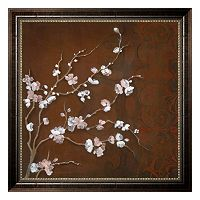 ''Cherry Blossoms on Cinnabar II'' Framed Canvas Wall Art by Janet Tava
