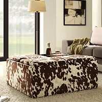 HomeVance Cowhide Print Storage Tray Cocktail Ottoman