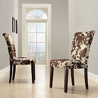 HomeVance 2 pc Parson Cowhide Print Side Chair Set