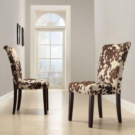 HomeVance 2-pc. Parson Cowhide Print Side Chair Set