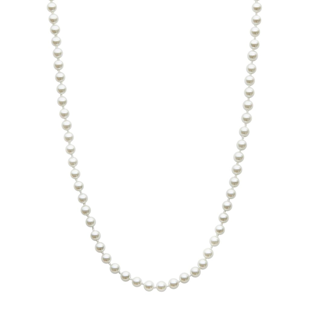 Chaps Silver Tone Simulated Pearl Necklace