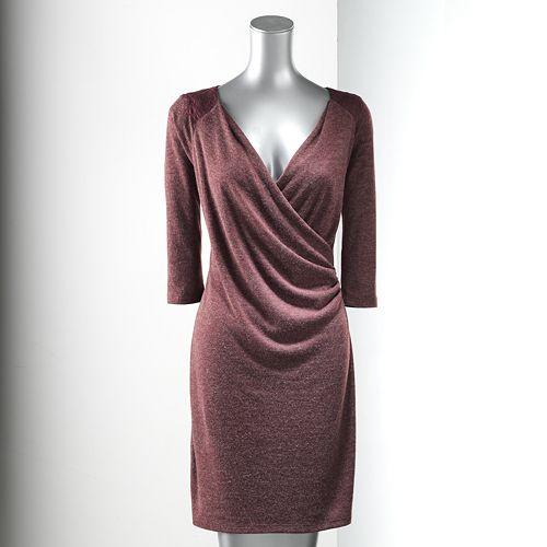 Simply Vera Vera Wang Faux-Wrap Sweaterdress