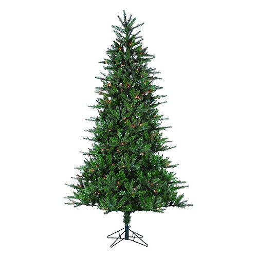 Where To Cut Christmas Trees: Sterling 7 1/2-ft. Multicolored Pre-Lit Natural Cut