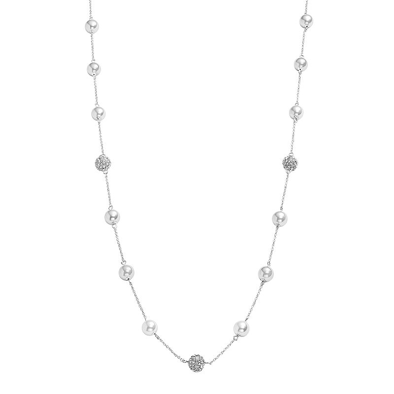 Chaps Simulated Pearl and Simulated Crystal Long Station Necklace