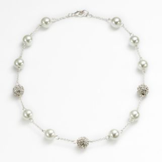 Chaps Simulated Pearl and Simulated Crystal Station Necklace