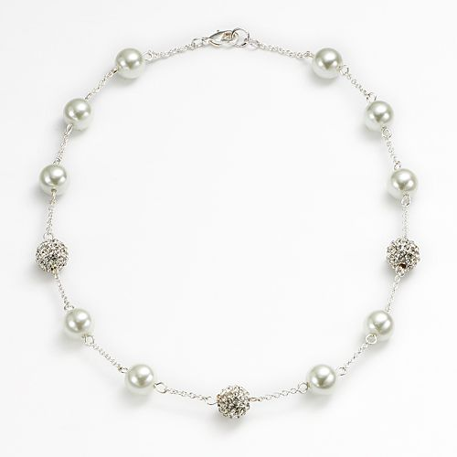 Chaps Simulated Pearl & Simulated Crystal Station Necklace