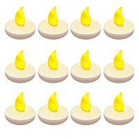 LumaBase 12-pk. Floating Flickering Tea Lights - Indoor & Outdoor