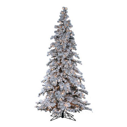 Sterling 9 Ft Clear Pre Lit Flocked Spruce Artificial Christmas