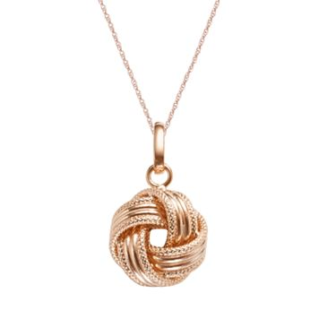 14k Rose Gold Textured Love Knot Pendant
