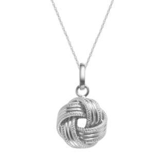 14k White Gold Textured Love Knot Pendant