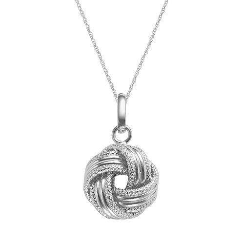 14k White Gold Textured Love Knot Pendant