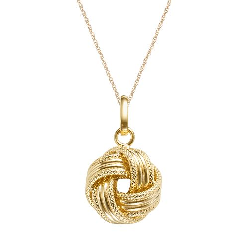 14k Gold Textured Love Knot Pendant