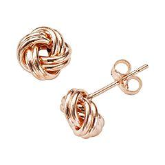 14k Rose Gold Love Knot Stud Earrings