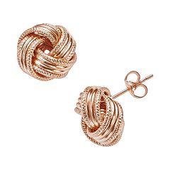 14k Rose Gold Textured Love Knot Stud Earrings