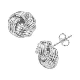 14k White Gold Textured Love Knot Stud Earrings