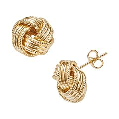 14k Gold Textured Love Knot Stud Earrings