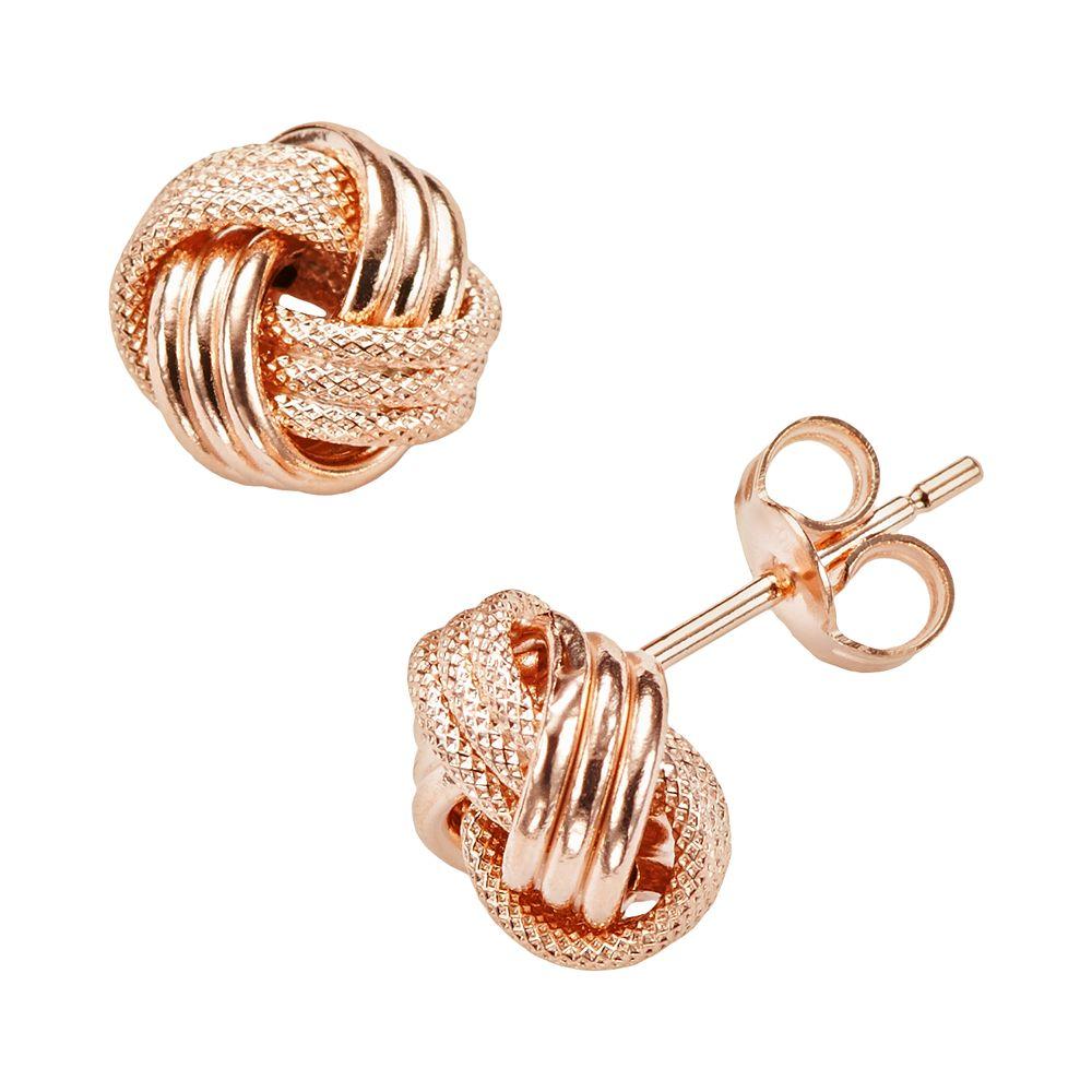 14k Rose Gold Textured Love Knot Stud Earrings