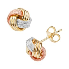 14k Gold Tri-Tone Textured Love Knot Stud Earrings