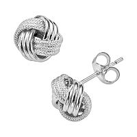 14k White Gold Textured Love Knot Stud Earrings